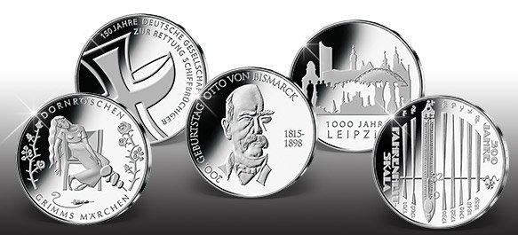 Alle 10-Euro-Gedenkmünzen 2015 im Tausch 10€ gegen 10€ bei MDM. Portofrei.