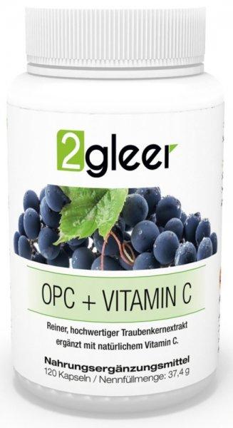 2gleer Traubenkernextrakt OPC - Ergänzt mit natürlichem Vitamin C aus Acerola, 120 Kapseln, 1er Pack (1 x 37 g)