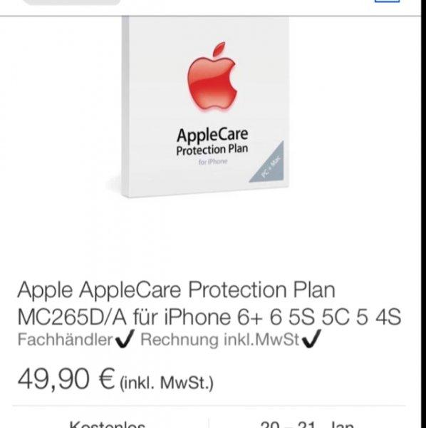 Apple AppleCare Protection Plan Serviceerweiterung MC265D/A für iPhone 6+ 6 5S 5C 5@ebay