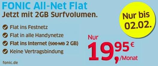 FONIC All-Net Flat ab 19.1.2015 mit 2 GB statt 500 MB, keine Vertragsbindung, monatlich kündbar