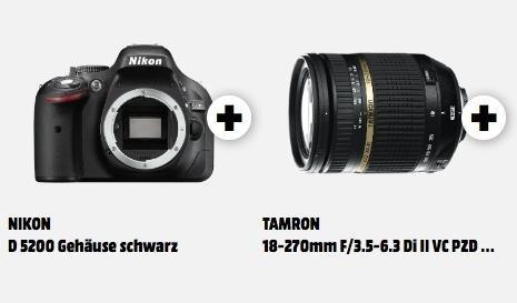 Nikon D 5200 Gehäuse + Tamron 18-270mm F/3.5-6.3 Objektiv für 655€ @ Media Markt