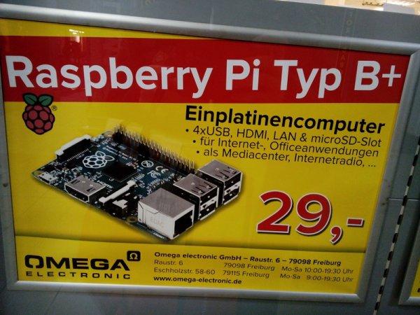 (Freiburg/ Evtl. Bundesweit?) Raspberry Pi B+ für 29€ bei Omega Elektronik