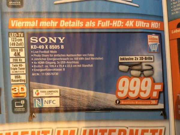 [Lokal Rheinland?] Sony 49X8505B 4K TV 999€