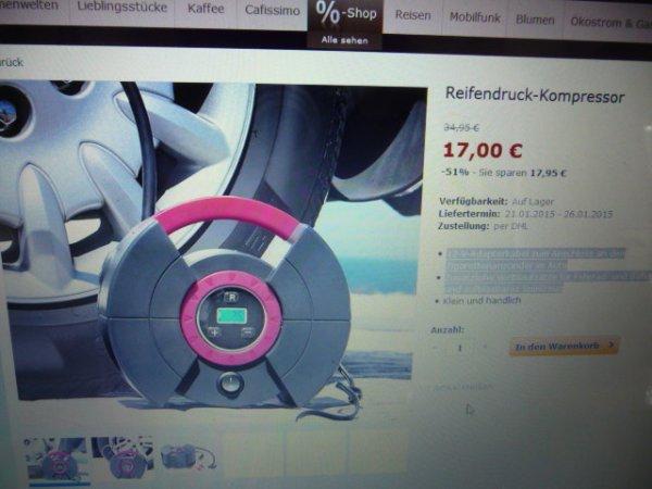 Tchibo Reifendruck-Kompressor (trendy Pink/Anthrazit)