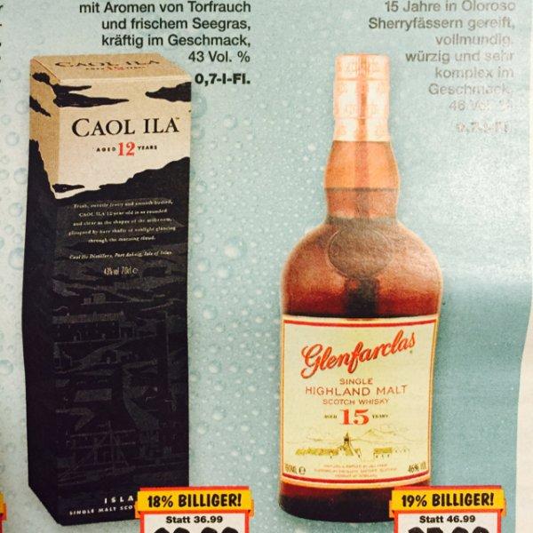 Lokal Berlin Kaufland Whisky Caol Ila 12 years & Glenfarclas 15 Years Single Malt
