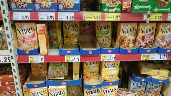 lokal @ kaufland schwetzingen: verschiedenen Sorten vitales müsli reduziert