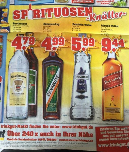 [Lokal Trinkgut] Johnnie Walker 0,7 l für 9,44 €, auch Kuemmerling und Puschkin Vodka im Angebot