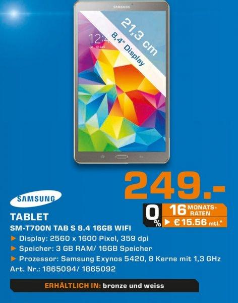 Samsung Galaxy Tab S 8.4 WiFi für 249€ LOKAL @ Saturn Gummersbach