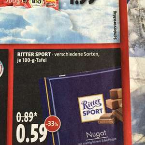 Rittersport 100g - Kaisers / Penny (+10 Cent)