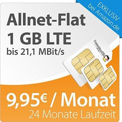 Erst ab 17 Uhr Amazon Blitzangebot.DeutschlandSIM LTE S 24 Monate Vertragslaufzeit (1 GB LTE Daten-Flat mit max. 21,1 MBit/s, Telefonie-Flat, 9ct pro SMS, 9,95 Euro/Monat ) O2-Netz