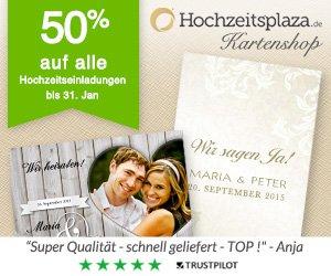 50% Rabatt auf alle Hochzeitseinladungen @Hochzeitsplaza.de