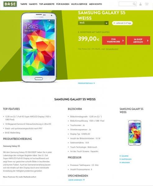 Samsung Galaxy S5 Weiss 399€ / Sony Xperia Z2 Schwarz 299€