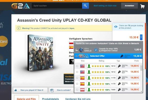 PC KEY Assassins Creed Unity (FSK 16) für 15,30 Euro bei g2a.com