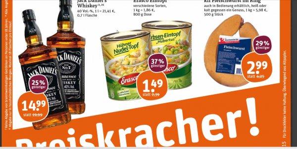 Jack Daniels 0,7l für 14,99 € am Fr + Sa im Tegut