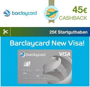 [Qipu] : Barclaycard New Visa mit 45€ Cashback + 25€ Starguthaben