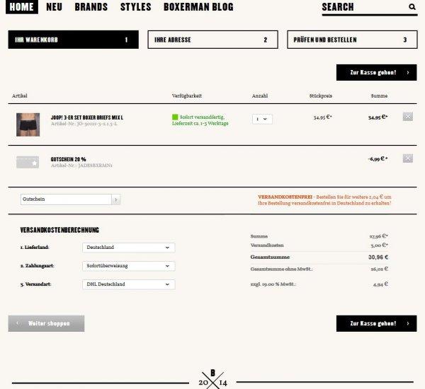 3er Pack Joop! Boxershorts für 30,96€