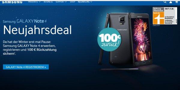 @Samsung.com - Samsung Galaxy Note 4 durch Vertragsabschluss /-verlängerung oder Neukauf erwerben u. 100,00€ Rückzahlung sichern