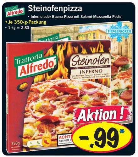 Alfredo Steinofenpizza Inferno oder Tomate Mozzarella Pesto bei LIDL 99 Cent