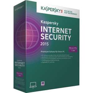 29,99€ statt 59,95€ Kaspersky Internet Security 2015 3 User 1 Jahr Deutsch Windows Mini Box mit DVD