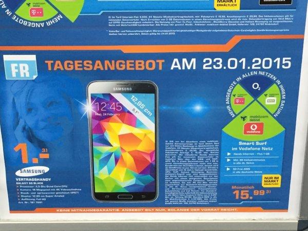 [Lokal Saturn DO-Eving] Samsung S5 + MD Vodafone Smart Surf (1GB/50Min/50SMS)