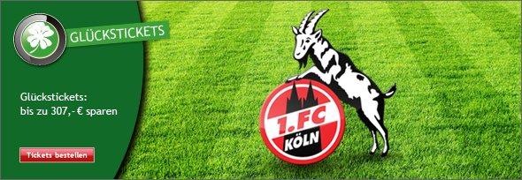 1 Glücksticket - 1.FC Köln gegen VfB Stuttgart - 4.2.2015 - 20 Uhr für 19,48 € ggf. statt 327,50 €