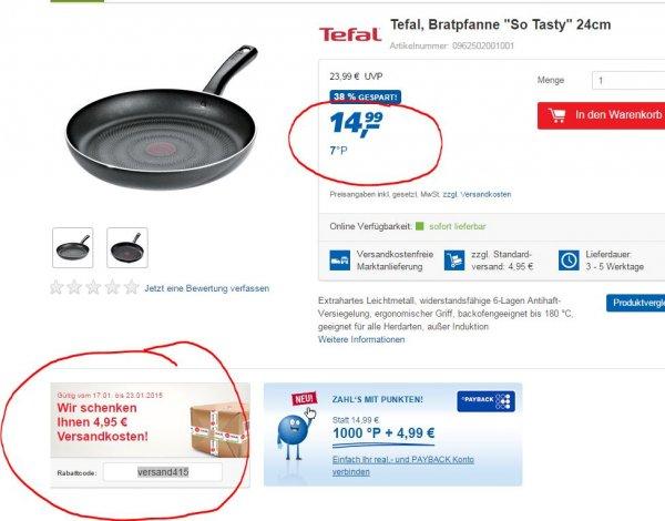 """Tefal Bratpfanne 24cm """"so tasty"""" bei Real online inkl. Versand für 14,99 (mit Versand-Code)"""