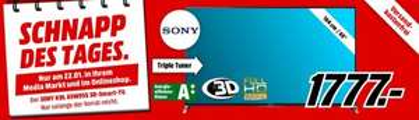 MM Schnapp des Tages am 22.01....SONY KDL-65W955 65 Zoll Full HD TV, TRILUMINOS, Motionflow XR 400Hz, WLAN, X-Reality PRO, XDR für 1777,-