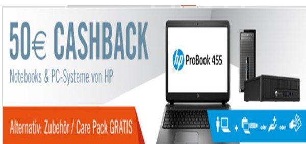 [@Cyberport] - 50€ Cashback oder GRATIS Zubehör bzw. Care Pack zu ausgewählten Notebooks & PCs von HP bis 31.03.2015