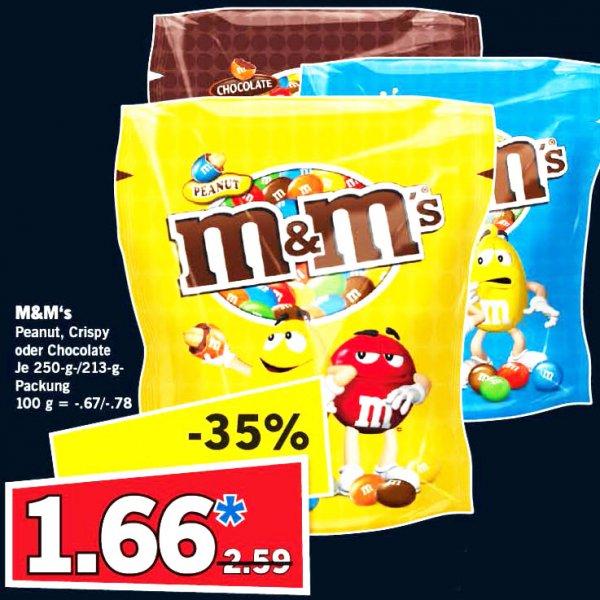 M&M's je Beutel nur 1,66€ (250g/213g) am Samstag bei [Lidl]