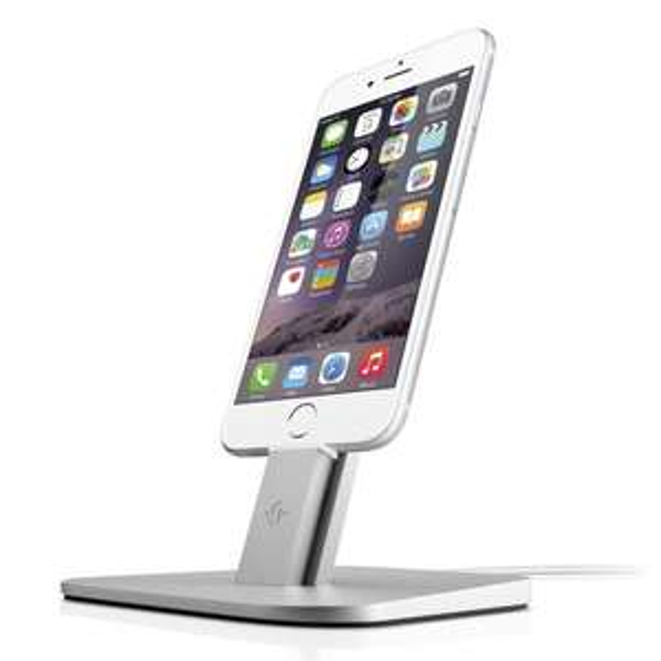 Twelve South 12-1307 HiRise Desktop Stand Aluminiumständer Dock für Apple iPhone 6, 6 Plus, 5, 5s, 5c / iPad mini / iPod touch 5, silber