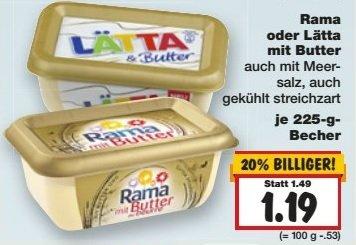 [KAUFLAND OWL evtl. Bundesweit] Rama mit Butter 0,69€ / Lätta mit Butter 0,49€ (Angebot & Coupon)