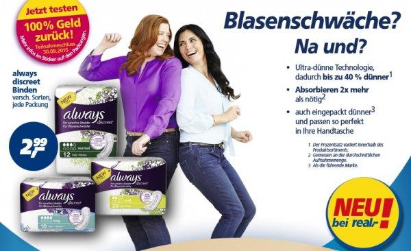 Blasenschwäche? Na Und? Always Discreet Binden für 1,24€ (mit Coupon) im Real (bw) ab 26.01.2015