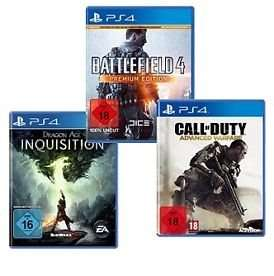 Playstation 4 Spiele Battlefield 4 Premium, Dragon Age Inquisition, Call of Duty Advanced Warfare @ebay je 45€
