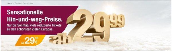 Germanwings Hin-und-weg Aktion: div. Ziele in Europa ab 29,99€