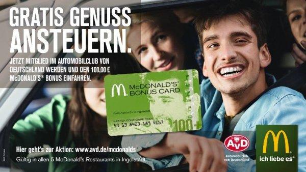 Mcdonalds Ingolstadt Gutscheinkarte über 100 EUR für 64,90 EUR AvD Mitgliedschaft !Aktion demnächst bundesweit!