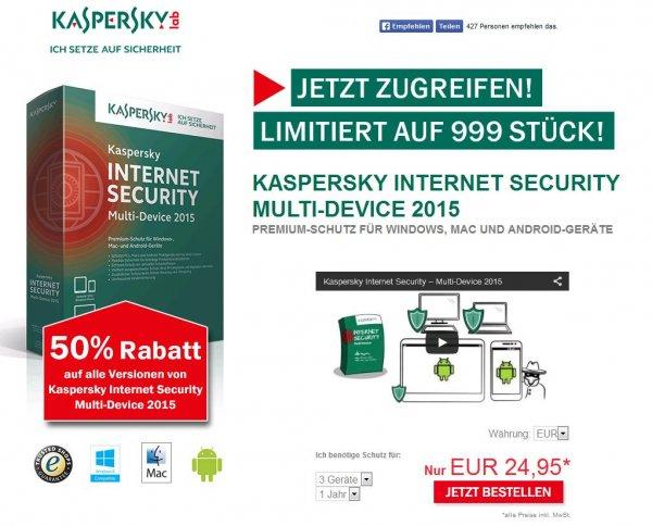 Kaspersky Internet Security 50% Rabatt bei der 3 Geräte version nur 24,95€ für 1 Jahr