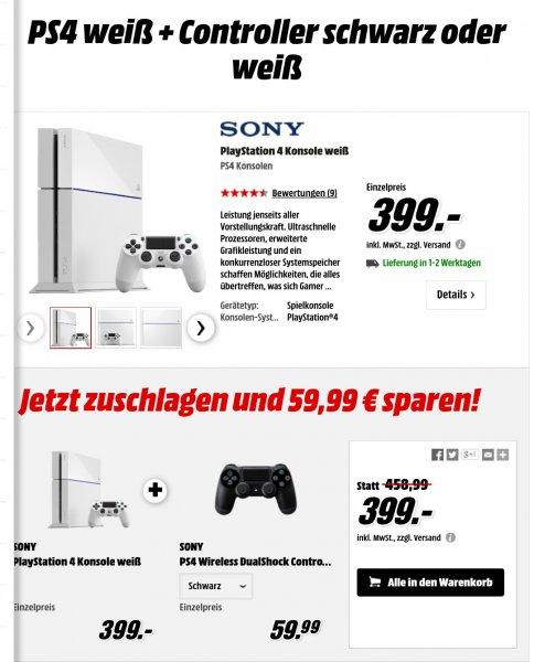 PS4 in Weiß oder Schwarz mit 2 Controller