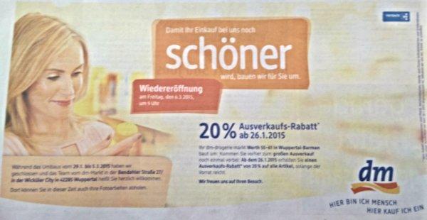 Wuppertal Barmen dm : 20% auf alles vom 26.1. - 28.1