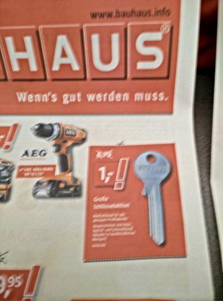 Wuppertal Bauhaus: (Nach)Schlüssel für 1€  / AEG Akku-Bohrschrauber BS18 G2 +Radio 99€