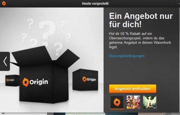 50% Rabatt auf ein Überraschungsspiel @Origin