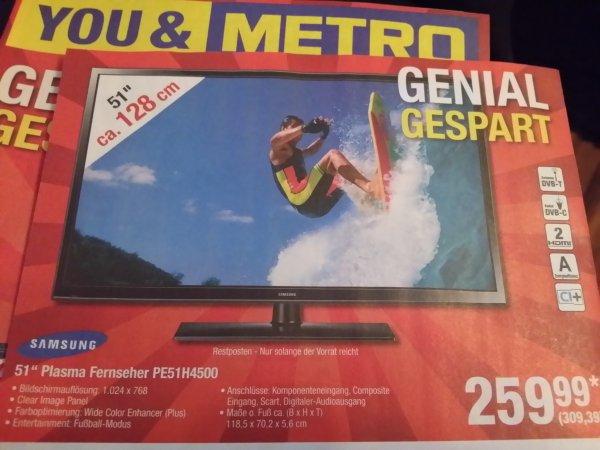 [Metro Bundesweit Offline] 51''  Samsung Plasma Fernseher PE51H45000 309,39 Euro