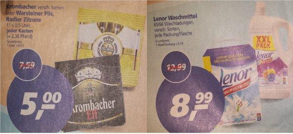 [Real] [Lokal Aachen?] 11er Kasten Krombacher / Warsteiner 5 € -> 0,91 € / Liter + Lenor Waschmittel 65/66 WL für 7,99 (mit Coupon)