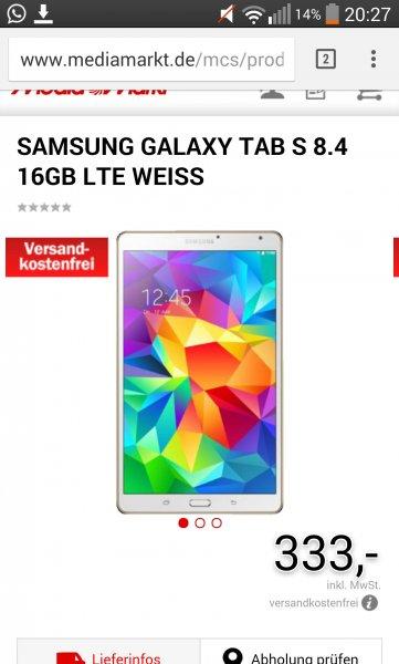 Samsung Galaxy Tab S8.4 in weiß LTE