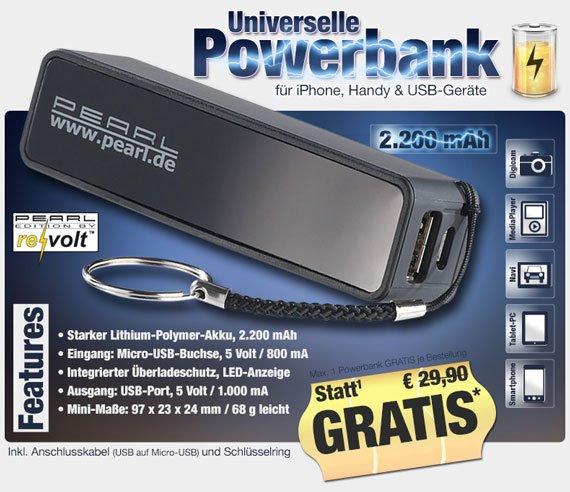 Universelle Powerbank 0€ zzgl. 4,90€ Versandkosten