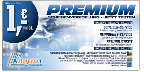 Premium Scheibenversiegelung und Innenreinigung für 1,- EUR bei Ihr Autoglaser