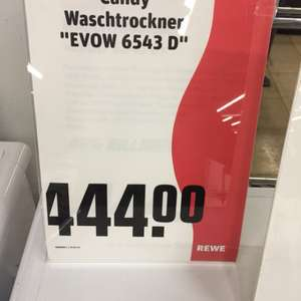 Lokal REWE Olching- Waschetrockner Candy EVOW 6543 D