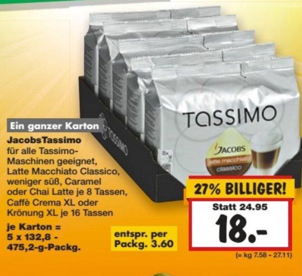 Tassimo Kapseln 5 Packungen für 18 € (3,60€ pro Packung) (wahrscheinlich lokal)