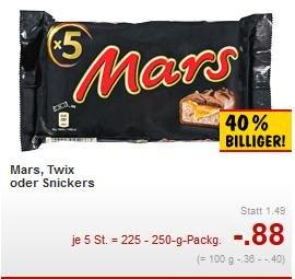 Mars, Twix, Snickers im 5 er Pack für 0,88€ vom 26.01-31.01 Kaufland Kiel [lokal]
