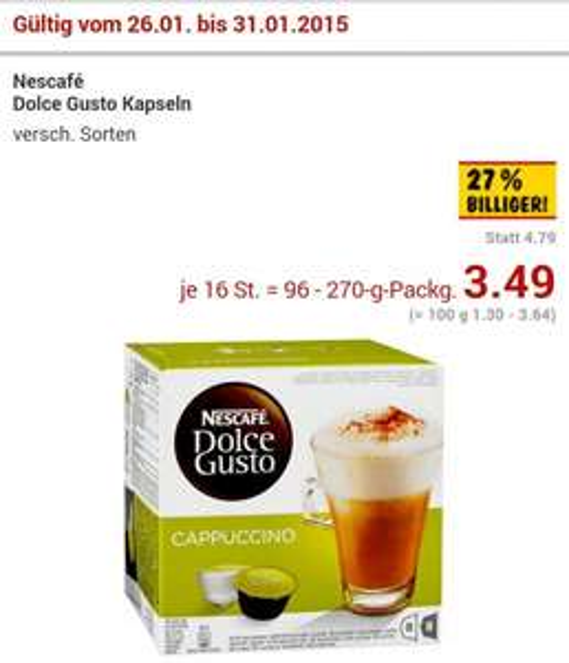 Nescafé Dolce Gusto Kapseln 3.49€ (Lokal ?) @ Bremen Kaufland