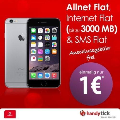Apple iPhone 6 Plus mit Vodafone Smart XL & bis 3GB LTE  Internet nur 39,99€ mtl zu 1€